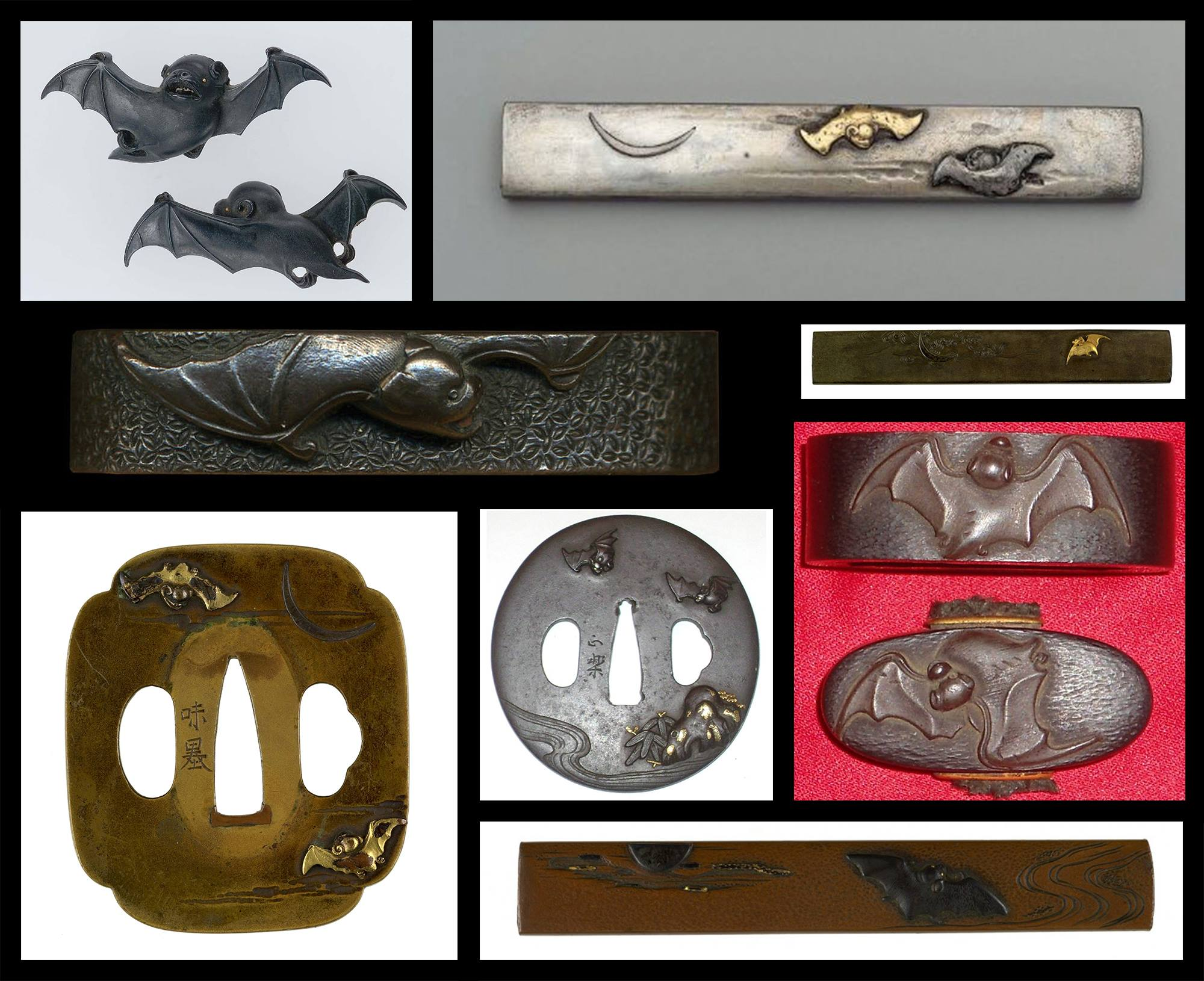 A selection of koshirae featuring bats as the dominant theme