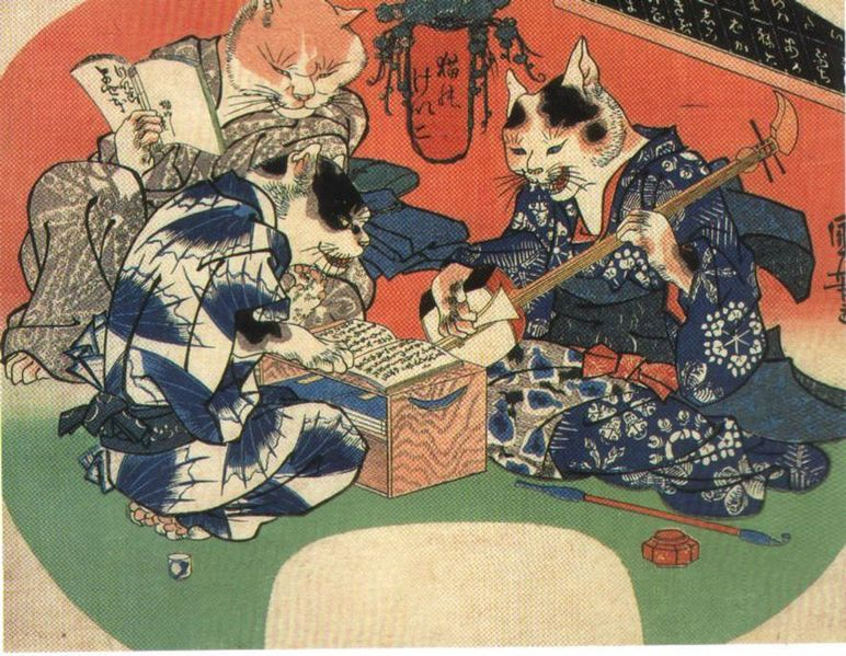 Bakeneko, a far less malevolent Yokai, often associated with Nekomata.