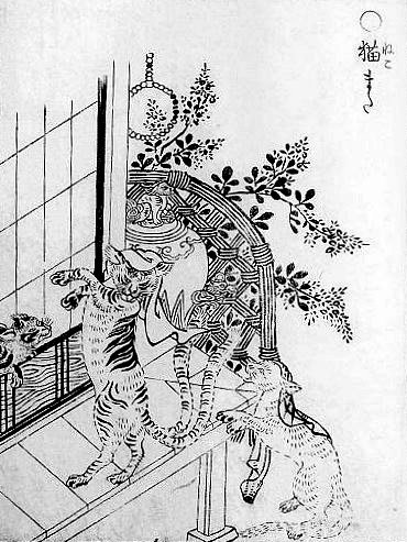 Naughty Nekomata, wearing napkins on their heads and dancing by the oil lanterns