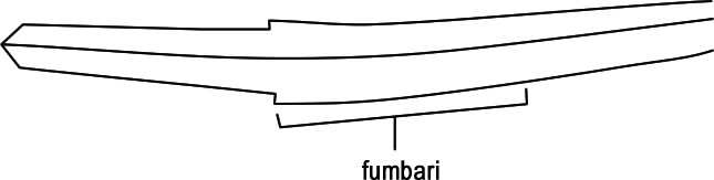 showing the swelling at the base of the sword that is fumbari